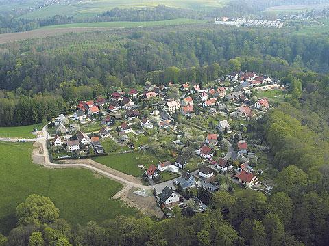 Luftaufnahme der Siedlung Waldfrieden